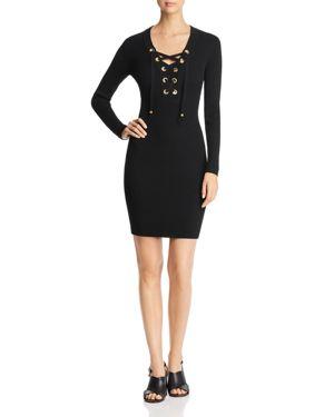 Michael Michael Kors Ribbed Lace-Up Dress