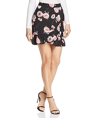Cotton Candy La Floral Print Faux-Wrap Skirt