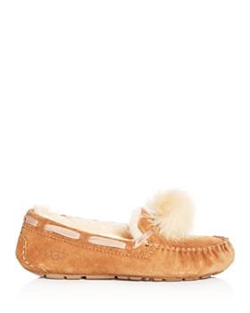 UGG® - Women's Dakota Suede & Shearling Pom-Pom Slippers