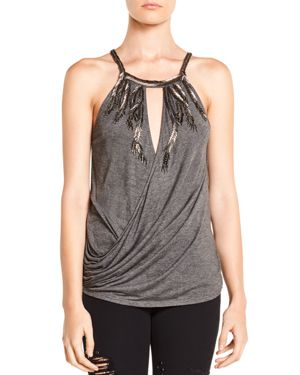 Haute Hippie Hippie Trails Embellished Draped Crossover Top