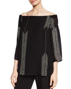 Halston Heritage Arrow-Print Off-the-Shoulder Silk Top