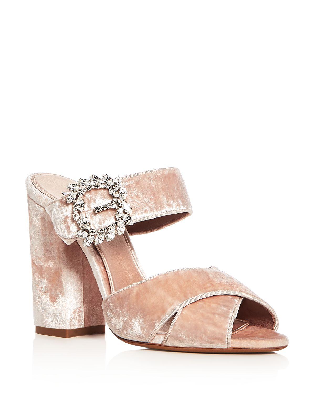 Tabitha Simmons Women's Reyner Embellished Velvet High Block Heel Slide Sandals