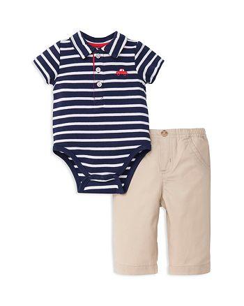 Little Me - Boys' Striped Polo Bodysuit & Pants Set - Baby