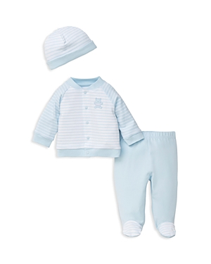 Little Me Boys Striped Cap EmbroideredBear Jacket  Footie Pants Set  Baby