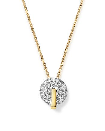 Roberto Coin - 18K White & Yellow Gold Diamond Disk Necklace, 16""