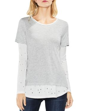 Vince Camuto Distressed Mixed Media Top