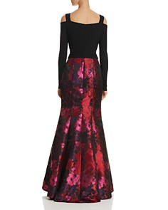 Avery G - Cold-Shoulder Brocade Mermaid Gown