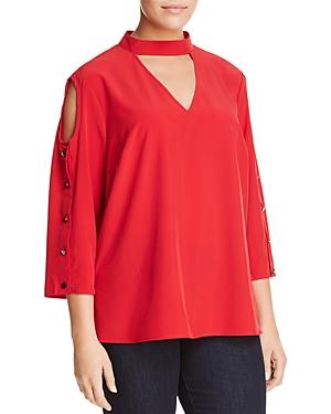 Love Scarlett Plus Cold-Shoulder Button-Sleeve Top