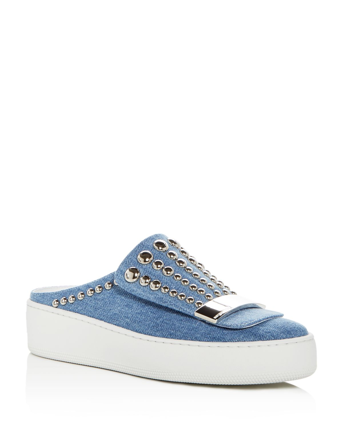 Sergio Rossi Women's Addict Studded Denim Platform Mules