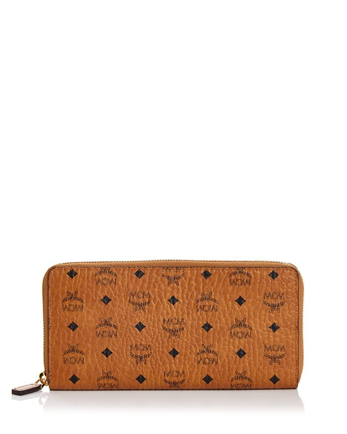 MCM Zip Around Large Leather and Canvas Wallet   | Bloomingdale's