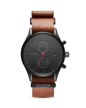 MVMT Voyager Chronograph Leather Strap Watch, 42Mm in Black/ Tan