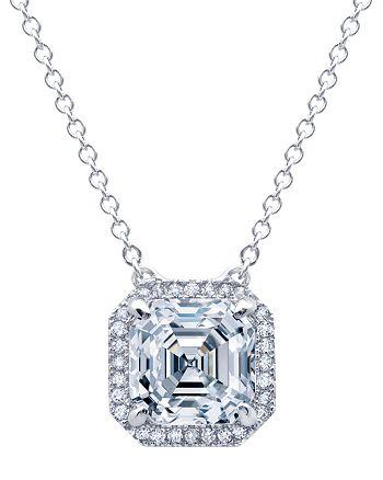 """Crislu - Princess Cut Pendant Necklace, 16"""""""