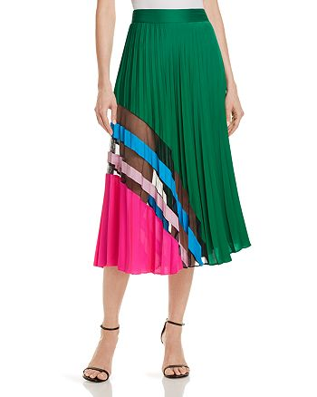 MILLY - Pleated Silk Skirt