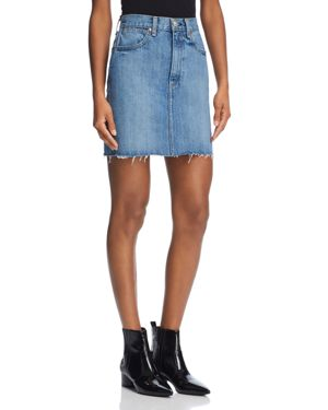 rag & bone/Jean Moss Raw-Edge Denim Skirt