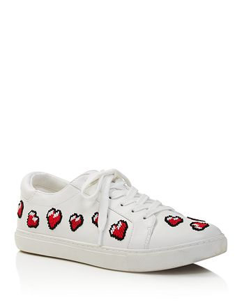 Kenneth Cole - Women's Kam Leather & Heart Appliqué Low Top Lace Up Sneakers - 100% Exclusive