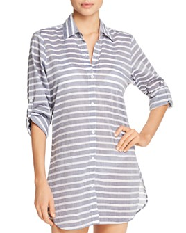 Tommy Bahama - Breton Stripe Boyfriend Shirt Swim Cover-Up - 100% Exclusive