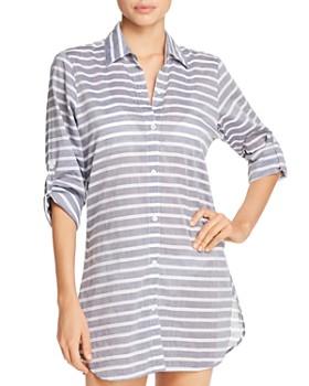 45aa6e4d86 Tommy Bahama - Breton Stripe Boyfriend Shirt Swim Cover-Up - 100% Exclusive  ...