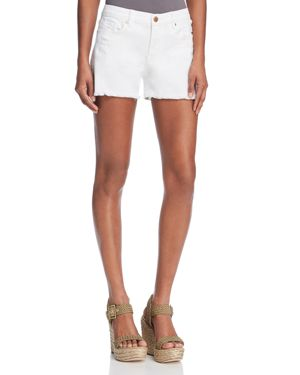 Blanknyc Great White Distressed Fringed Denim Shorts