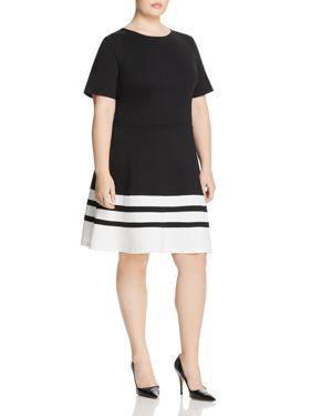 Love Ady Plus Striped-Hem Dress