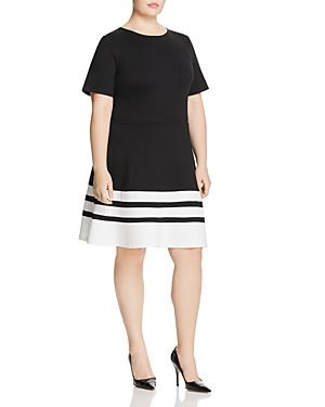 New Love Ady Plus Striped-Hem Dress, Black/White