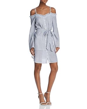 Aqua Striped Cold-Shoulder Shirt Dress - 100% Exclusive