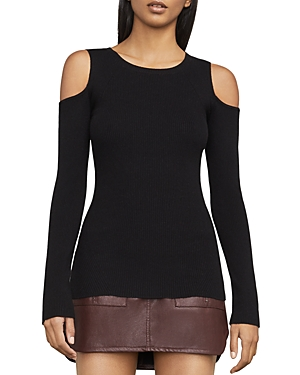 Bcbgmaxazria Adaline Cold-Shoulder Rib-Knit Top