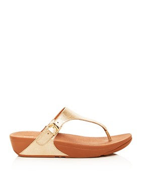 FitFlop - Women's Skinny Leather Platform Thong Sandals