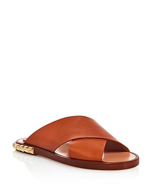 Stuart Weitzman Women's Rockrose Leather Studded Slide Sandals