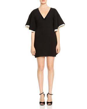 Halston Heritage Color Blocked Flutter-Sleeve Crepe Dress 2825441