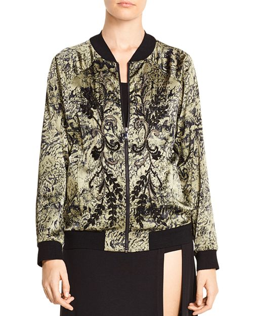 Haute Hippie - Crystal Ball Beaded Printed Bomber Jacket