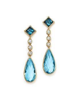 Olivia B - 14K Yellow Gold London Blue Topaz, Swiss Blue Topaz & Diamond Drop Earrings - 100% Exclusive