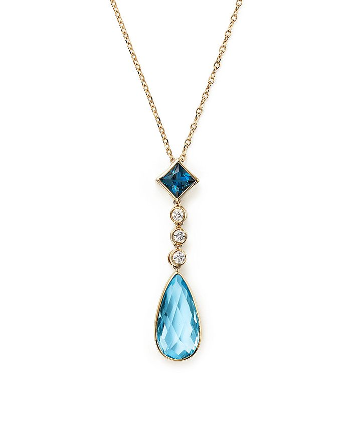 "Olivia B - 14K Yellow Gold Mixed Blue Topaz & Diamond Pendant Necklace, 16"" - 100% Exclusive"