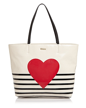 kate spade new york Yours Truly Heart Stripe Hallie Tote