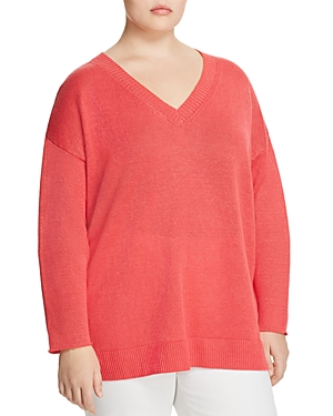 Eileen Fisher Plus Organic-Linen V-Neck Sweater