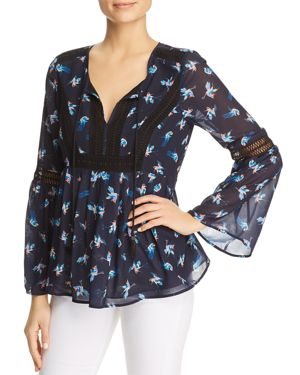 DANIEL RAINN BIRD-PRINT PEASANT TOP