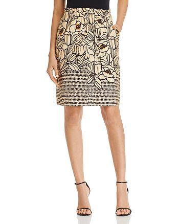 Donna Karan - Floral-Print Pull-On Skirt