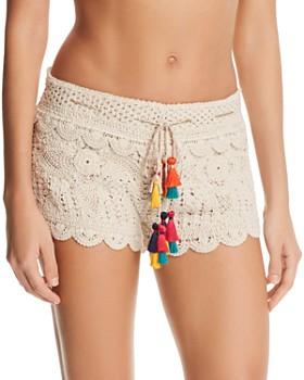 Surf Gypsy - Multicolored-Tassel Crochet Swim Cover-Up Shorts
