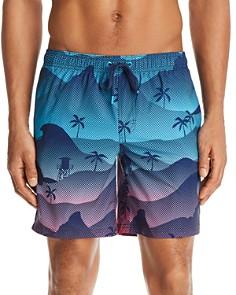 SUNDEK - Waves and Palms Swim Trunks