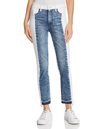 PAIGE - Hoxton Straight Ankle Patchwork Jeans in Agnes