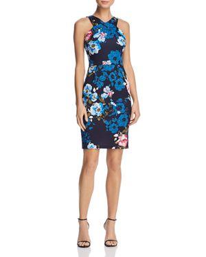 Aqua Floral Print Sheath Dress - 100% Exclusive