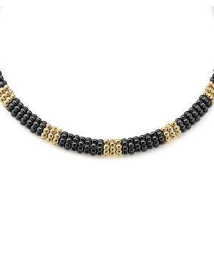 Lagos Gold & Black Caviar Collection 18K Gold & Ceramic Collar Necklace, 16
