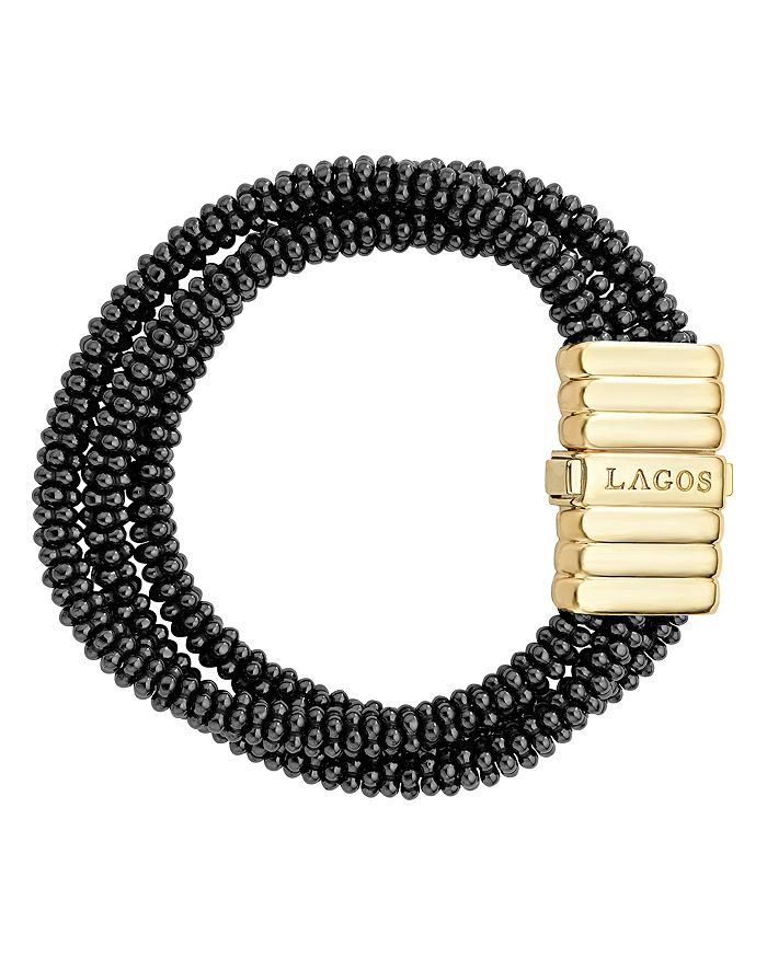 LAGOS - Gold & Black Caviar Collection 18K Gold & Ceramic Three Strand Bracelet