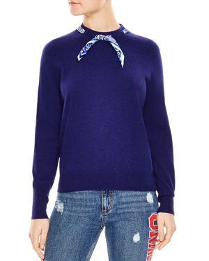 Sandro Lucke Wool & Cashmere Scarf-Collar Sweater