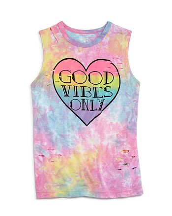 Flowers by Zoe - Girls' Distressed Tie-Dye Good Vibes Only Tank - Big Kid