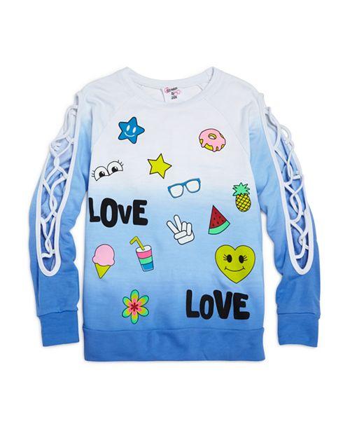 Flowers by Zoe - Girls' Ombré Love Sweatshirt with Lattice-Cutout Sleeves - Little Kid