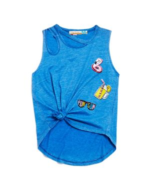 Vintage Havana Girls' Distressed Fun in the Sun Tie-Front Patch Tank - Big Kid