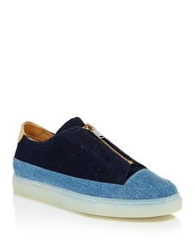 Pairs in Paris - Women's Two Tone Chambray Zip Sneakers