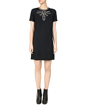 The Kooples  NEW ROMANTIC GROMMETED CREPE SHIFT DRESS