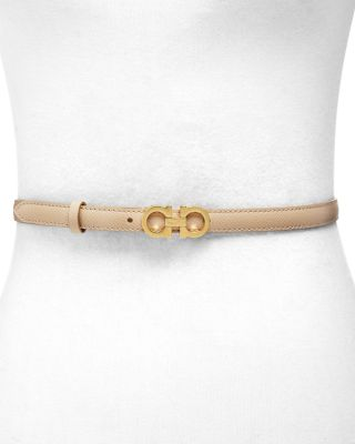 Skinny Gancini Leather Belt by Salvatore Ferragamo