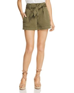 High-Waist Belted Paperbag Shorts in Khaki